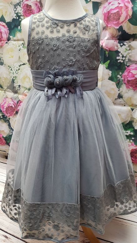 Girls Grey Occasion Bridesmaid Dress